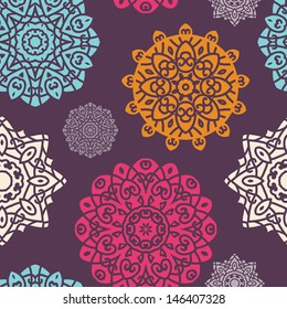 Seamless Pattern With ���¡oloured Circle Ornament On Black Background, Mandala - Vector Circle Ornament, Design Element