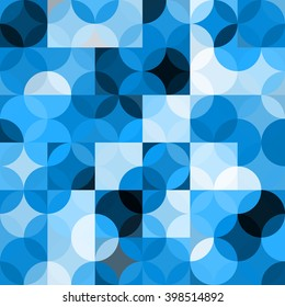 Seamless pattern with circles. Abstract blue background. Vector illustration. A good choice for the background display, website, flyers, brochures and presentations in a modern style