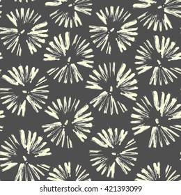 Seamless pattern with circles brush strokes. Vector gray hand drawn flowers. Flowers, dandelions, fireworks.