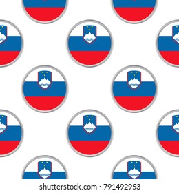 Seamless pattern from circles with flag of Slovenia. Vector illustration