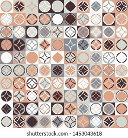 Seamless pattern. Circles and four-pointed stars on a checkered texture background. Chaotic colored elements.