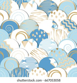 Seamless pattern of  circles with hand drawn drawings. Best for decoration, Wallpaper design. White -- Golden -- Blue  Colored. Vector