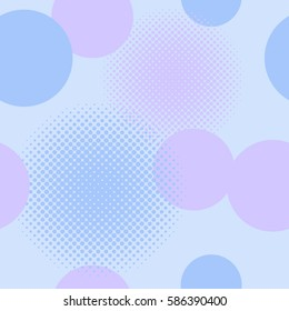 Seamless pattern of circles including halftone effect in in shades of blue and mauve