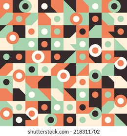 Seamless pattern with circles in squares.