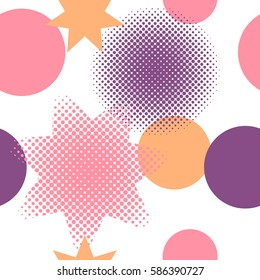 Seamless pattern of circles and stars including halftone effect in colours pink, orange and purple