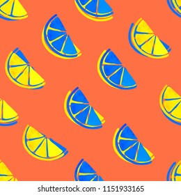 Seamless pattern with citrus brush painted. Colorful watercolor background. 