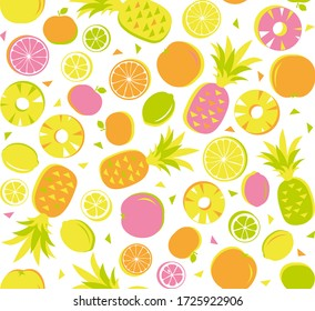Seamless pattern of citrus fruit as pineapple lemon lime orange mandarin triangle fresh juicy in orange yellow pink, graphic geometric abstract retro vintage, background illustration in vector