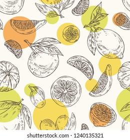 Seamless pattern with citrus fruitst: lemon, pomelo, tangerine and kumquat. Vector hand drawn illustration.