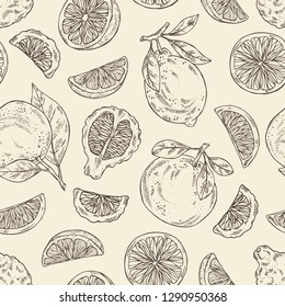 Seamless pattern with citrus fruitst: orange, lime, grapefruit and bergamot. Vector hand drawn illustration.