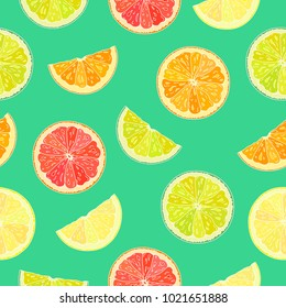 Seamless pattern with citrus on green background.