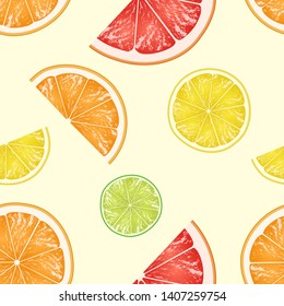 Seamless pattern of citrus slices. Lime, lemon, orange and grapefruit pieces on light yellow background. Vector illustration