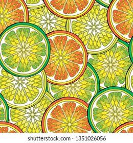 Seamless pattern with citrus tropical fruits. Lemon, orange, Amanatsu,  citron, clementine, grapefruit, kabosu, kinnow, kumquat, mandarin, pomelo, tangerine, tangor, lime. Vector illustration
