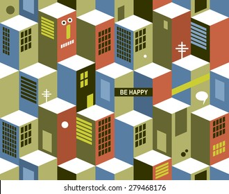 Seamless pattern with city buildings. Vector cityscape in vintage colors.