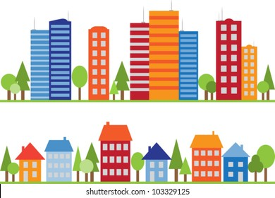 Seamless pattern of city, town or village with trees