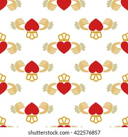 seamless pattern. Claddagh ring. vector illustration