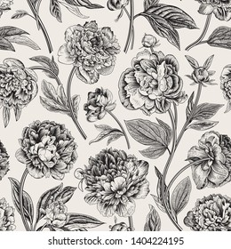 Seamless pattern. Classic peonies. Vector botanical illustration. Black and white