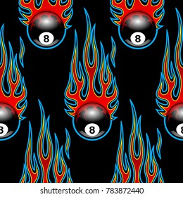 Seamless pattern with classic tribal hotrod muscle car flames and billiards 8 ball isolated on black background. Can be used as wallpaper, wrapping, packaging and any kind of decoration.