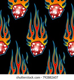 Seamless pattern with classic tribal hotrod muscle car flames and dice graphic isolated on black background.