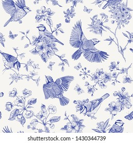 Seamless pattern. Classis vintage illustration. Blossom garden with tits. Birds and flowers. Chinoiserie