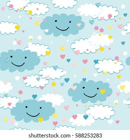 Seamless pattern with clouds and hearts perfect for baby and all kids.