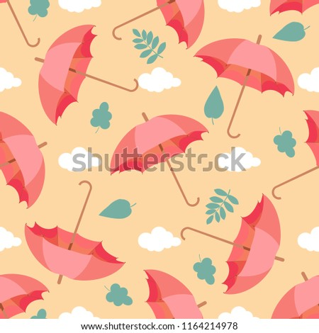 Seamless Pattern With Clouds Leaves And Umbrellas Wallpaper For Children Room Weather Background