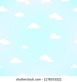Seamless pattern of clouds on blue sky. Vector background. For fabric, textile and linen, wallpaper, cover, pattern fills or web page background, gift and wrapping paper.