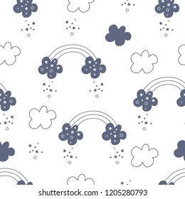Seamless pattern with clouds and stars. Vector illustration of star rain for printing on textile products for children, banners, packaging. Vector illustration on white background.