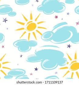 Nahtloses Muster mit Wolken, Sonne und Sternen einzeln auf weißem Hintergrund. Illustration im handgezeichneten Stil.