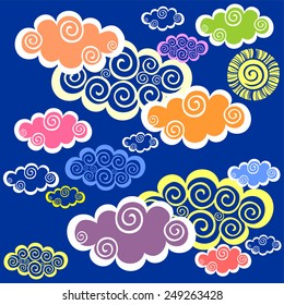 Seamless pattern with clouds and sun. Vector Illustration