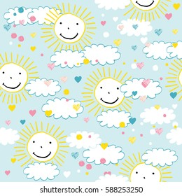 Seamless pattern with clouds and suns perfect for baby and all kids.