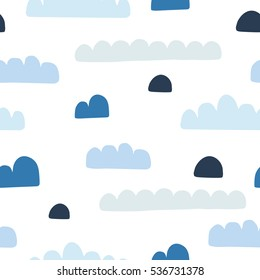 Seamless pattern with clouds. Vector illustration