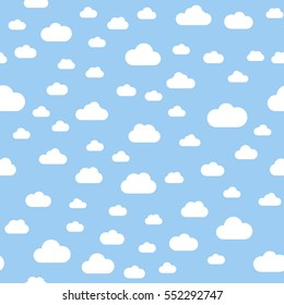 Seamless pattern. Clouds. White clouds pattern, blue background. Vector, flat illustration
