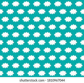 Seamless pattern of clouds in white greenblue, graphic geometric abstract minimal retro vintage, sweet happy kids background illustration in vector