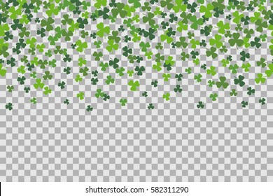 Seamless pattern with clover leafs for St Patricks Day celebration on transparent background. Vector Illustration.  Patrick's Day  background.