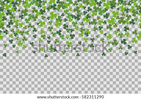23f4d4c16 Seamless pattern with clover leafs for St Patricks Day celebration on  transparent background. Vector Illustration