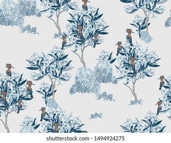 Seamless Pattern Cobalt Blue Oriental Chinese Motifs Pattern Exotic Hoopoe Birds in Blooming Garden Oleander Trees Monochrome Retro Hand drawn Illustration with Blue Background