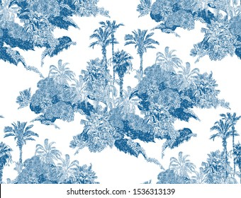 Seamless Pattern Cobalt Blue Vintage Outline Etching Graphics of Jungle Tropical Palms Rainforest Exotic Plants Groups of Trees in Mountains British Textile Design on White Background
