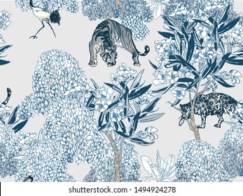 Seamless Pattern Cobalt Blue and White Wild Predator Animals Tiger, Leopard, Cranes and Hoopoe Birds in Blooming Garden Blue and White Porcelain Chinese Textile Design Vintage Asian Motifs
