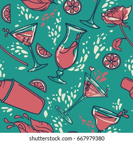 seamless pattern with cocktails, flowers and splashes, can be used for cocktail party or for bachelorette party, pink and turquoise colors, vector illustration