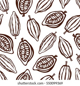 Seamless pattern with cocoa fruits. Monochrome. Texture for packaging, corporate identity, menu. Hand drawn. Vector illustration.