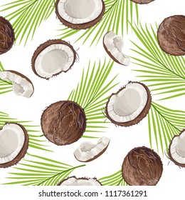 Seamless pattern with coconut and palm leaves isolated on white background. Whole coconut and piece. Vector illustration in cartoon flat style.