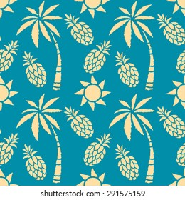 Seamless pattern with coconut palm trees, pineapples, sun. Summer print, repeating background texture