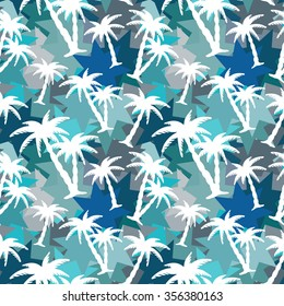 Seamless pattern with coconut palm trees. Abstract tropical colorful camouflage. Paint spots, chaotic background texture. Cloth design, wallpaper, wrapping