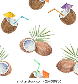 Seamless pattern with  coconuts and coconut cocktail, painted in watercolor. Vector background.