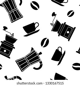 Seamless pattern. Coffee beans, Cup, coffeemaker. Endless texture for cafe menu, wrapping paper and other things