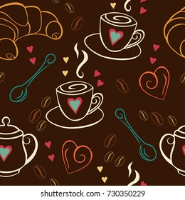 Seamless pattern with coffee, croissant