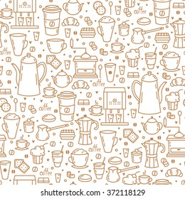 Seamless Pattern with Coffee Cups, cupcakes and Coffee Beans