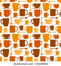 Seamless pattern with coffee cups and mugs