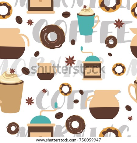 seamless pattern coffee cute templates flyers stock vector royalty