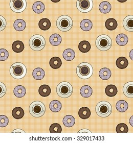 Seamless pattern, coffee and donuts, vector illustration